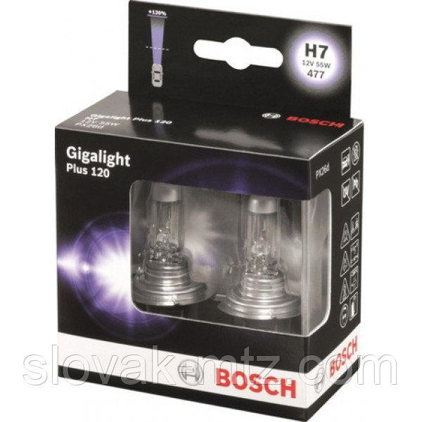 Автолампа BOSCH Gigalight Plus 120% H7 55W 12V PX26d (1987301107) 2шт./бокс