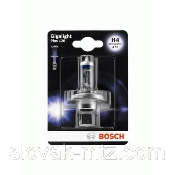 Автолампа BOSCH Gigalight Plus 120% H4 60/55W 12V P43t (1987301109) 1шт./блистер