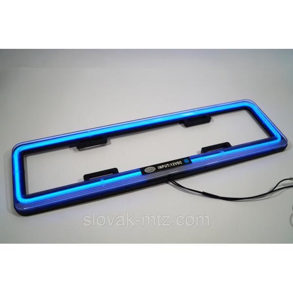 Рамка номерная LED НЕОН! очень мощная и красивая неоновая подсветка (цвет СИНИЙ) цена за 1шт
