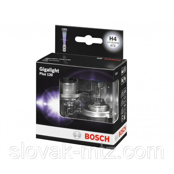 Автолампа BOSCH Gigalight Plus120 H4 60/55W 12V P43t (1987301106) 2шт./бокс